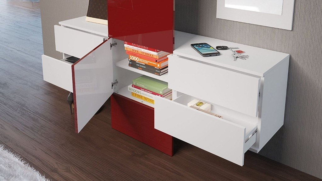 Central cupboard and 2 drawer units