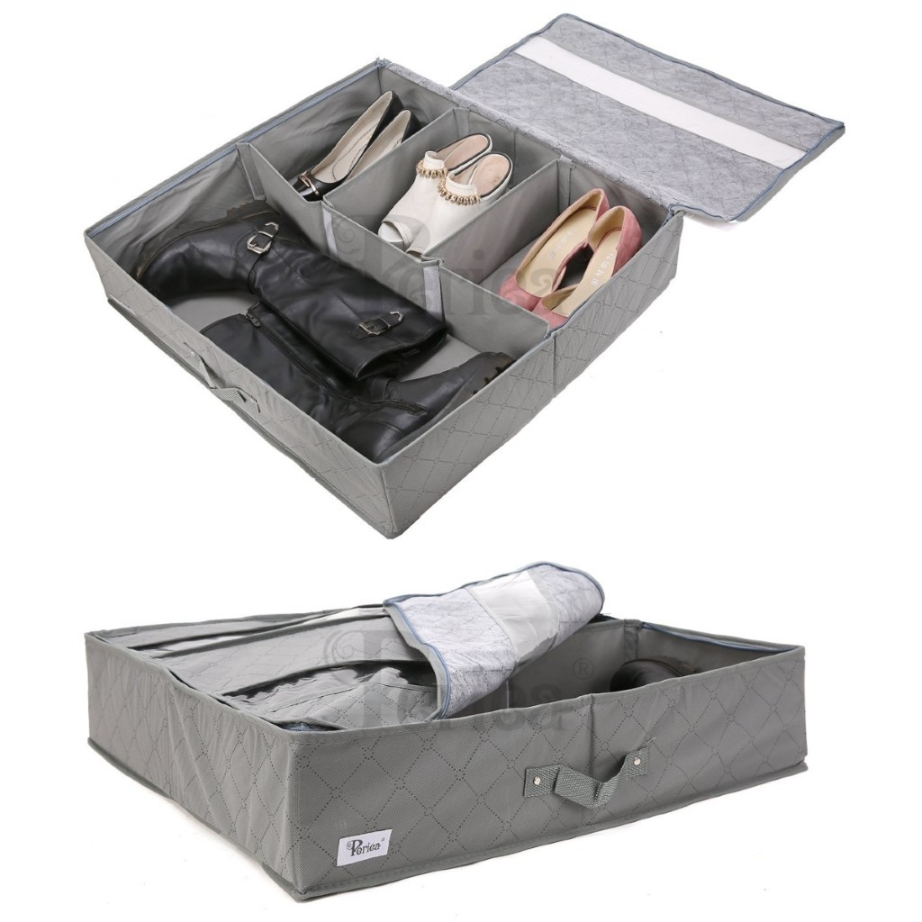 Grey fabric underbed storage box