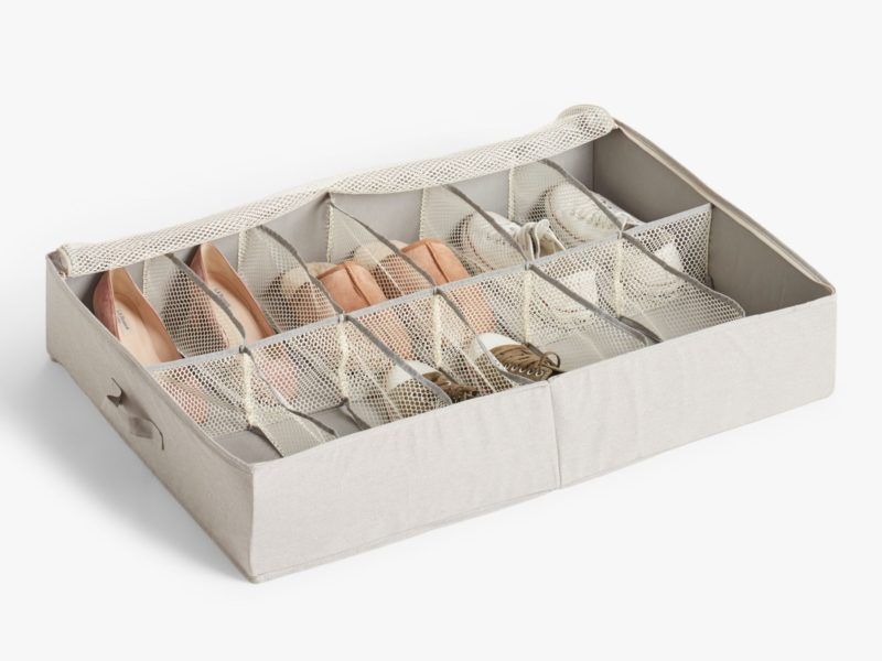 Grey fabric shoe storage container