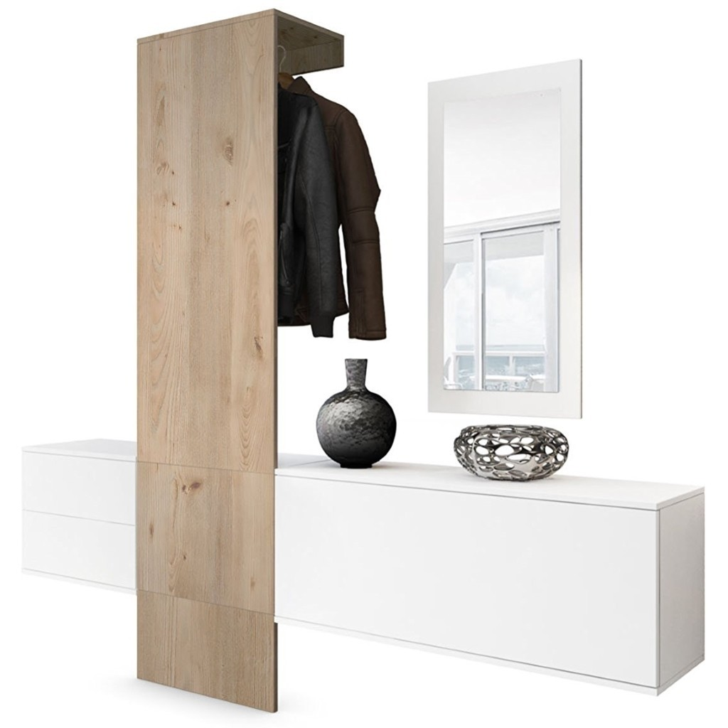 Hallway Furniture set consisting of 1 cabinet with drawers, 1 cabinet with a flap, 1 mirror and 1 panel