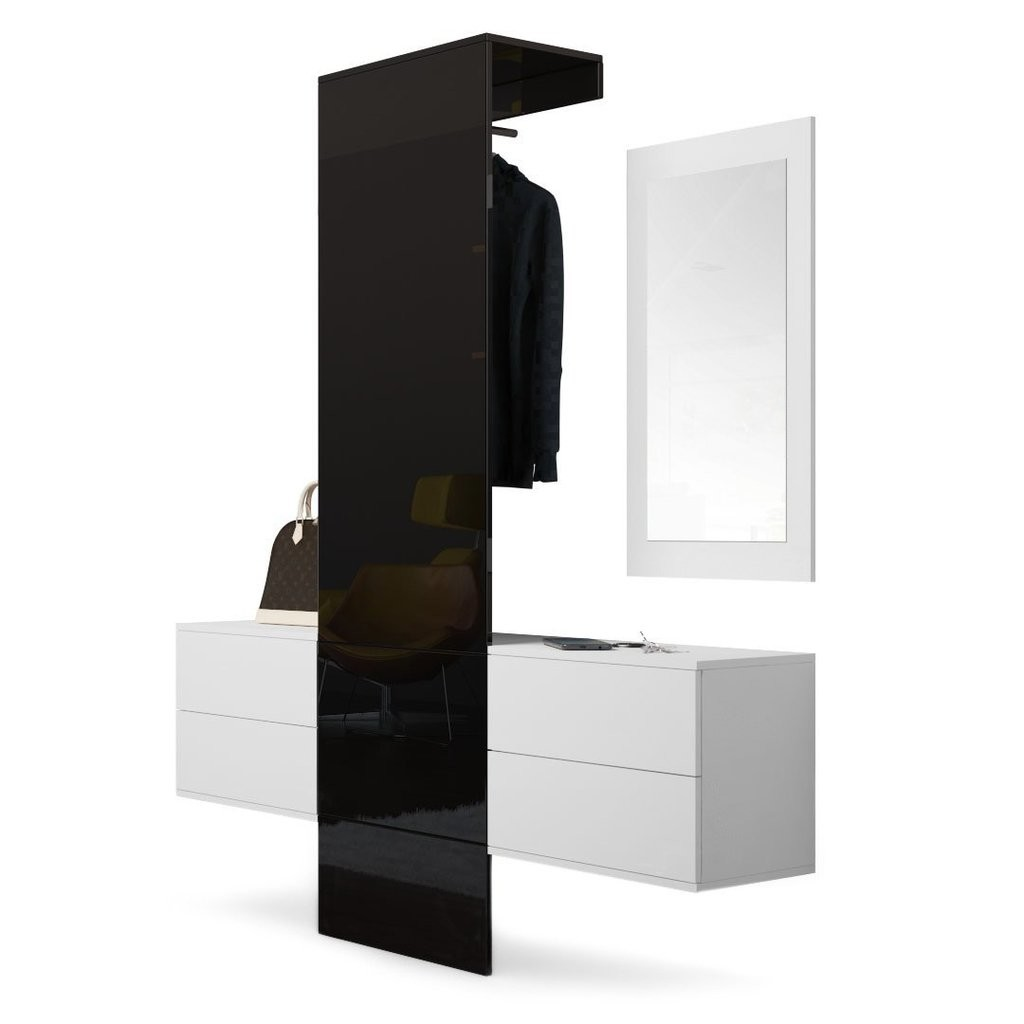 Hallway Furniture set consisting of 2 cabinets with drawers, 1 mirror and 1 panel