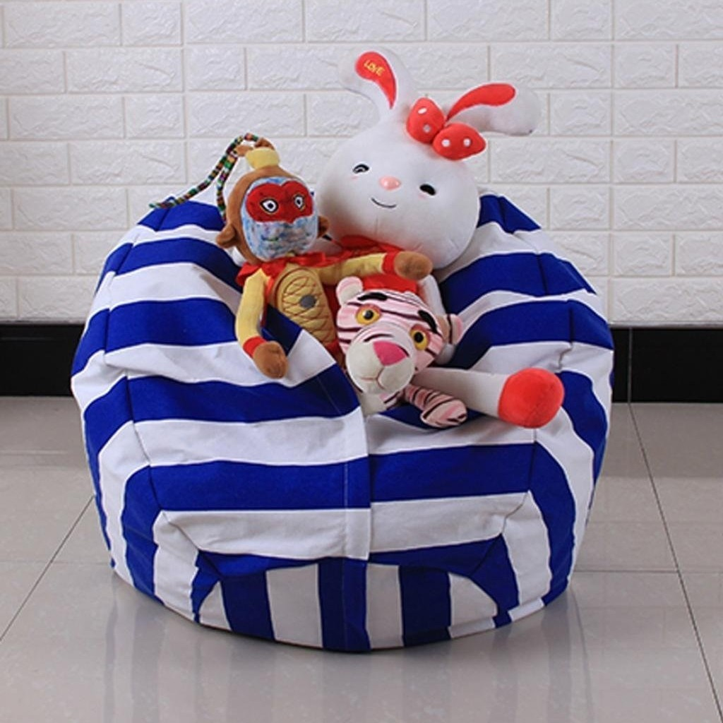 Blue striped storage bean bag