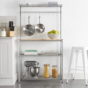Kitchen shelving with wood top and hanging rack