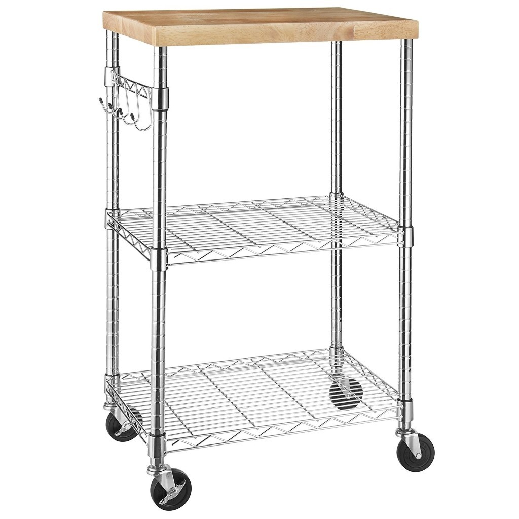 Chrome trolley with shelves and wooden top