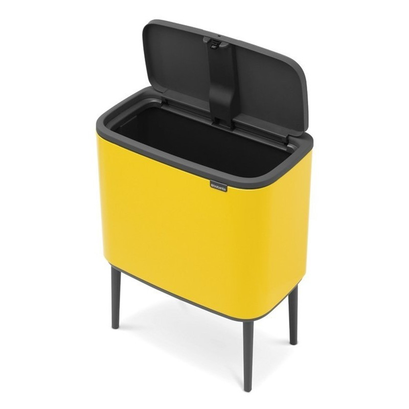 Yellow bin with single liner