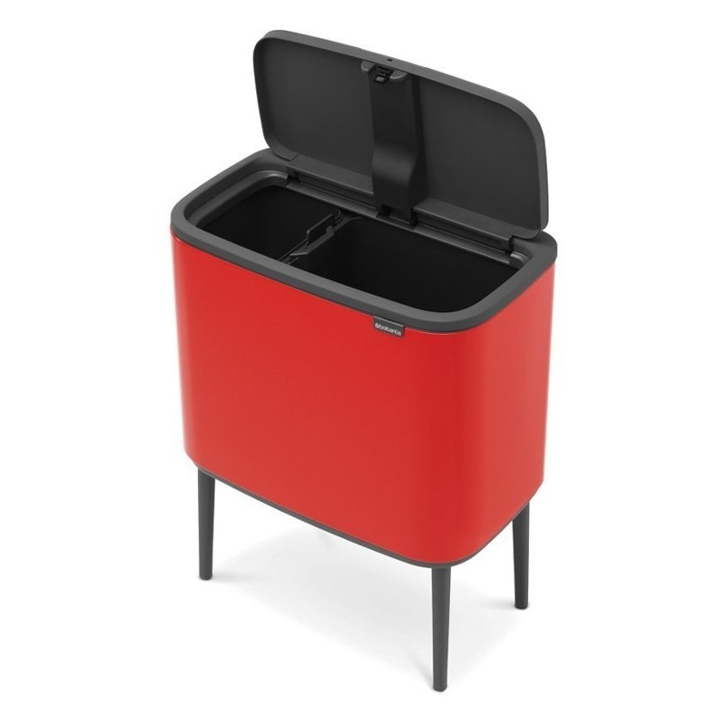Red kitchen bin with 2 buckets