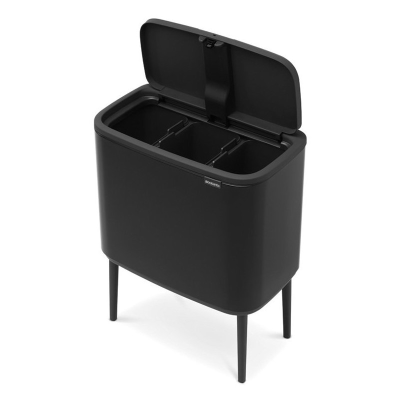 Black designer bin with 3 compartments