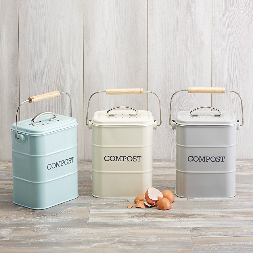 Vintage style metal food waste bins