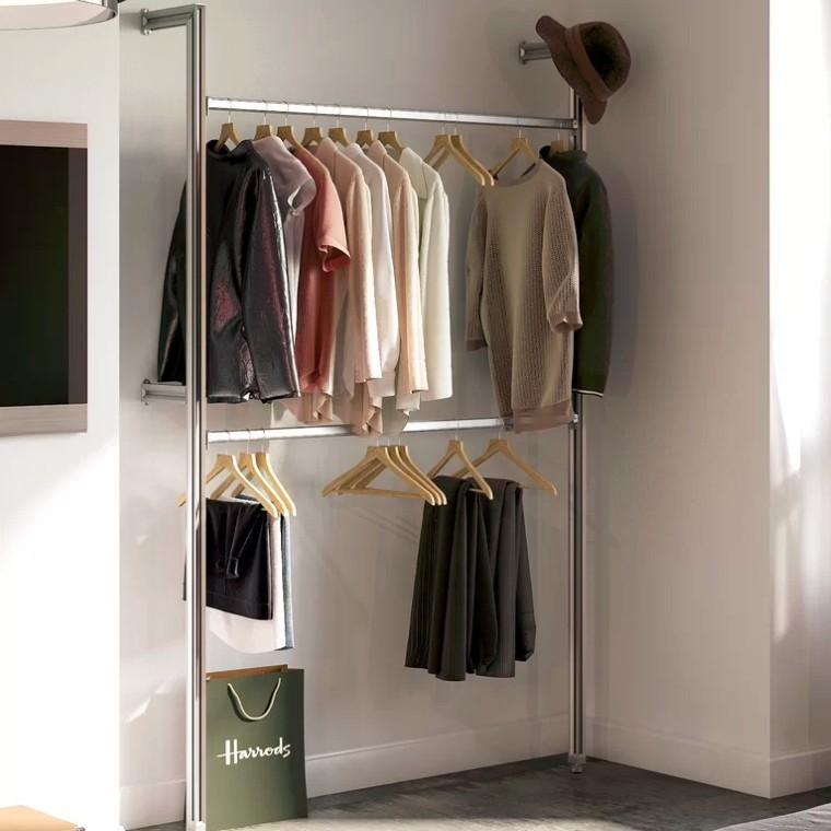 Twin rail clothes storage rail