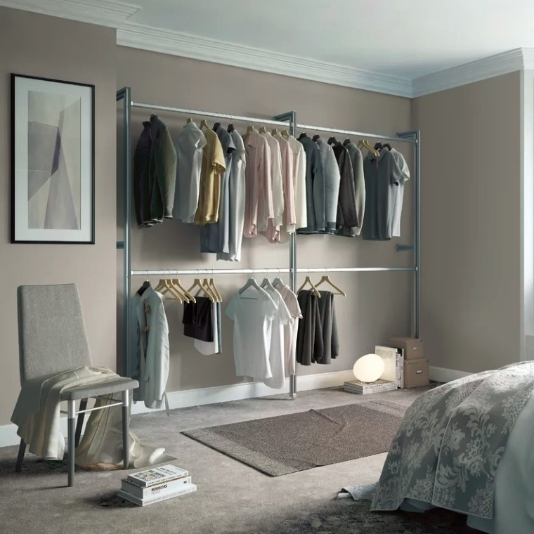 Double wall-mounted clothes rail