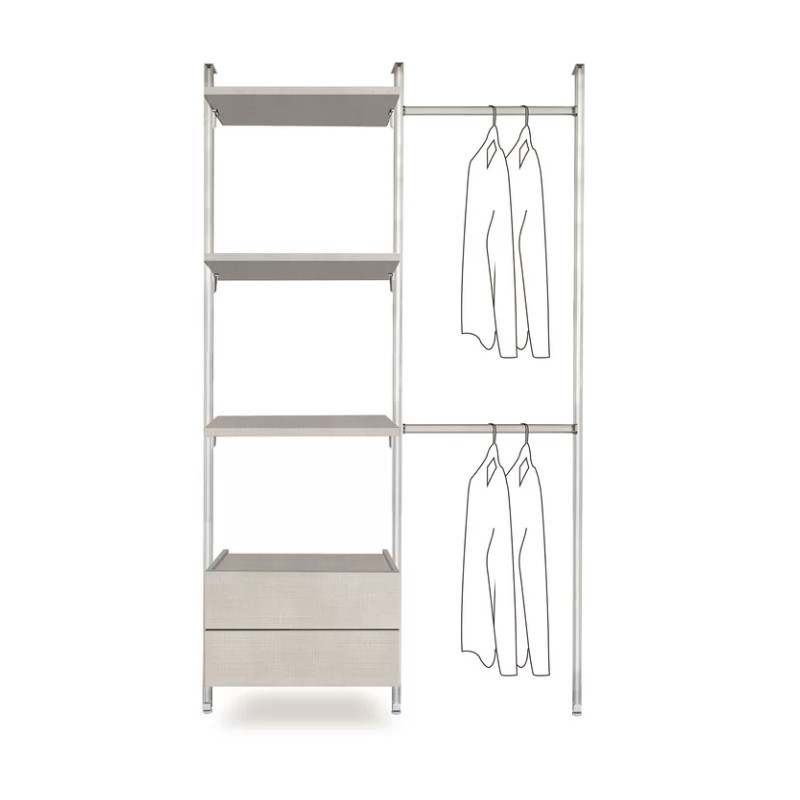 Wall-mounted clothes rail with 3 linen shelves and 2 linen drawers