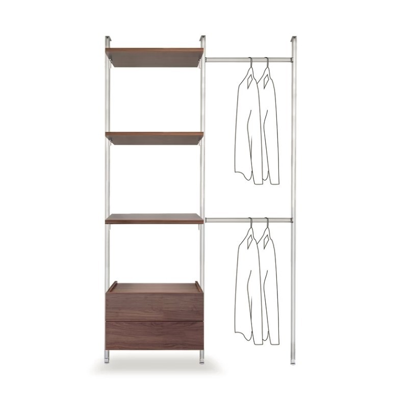 Wall-mounted clothes rail with walnut shelves and drawers