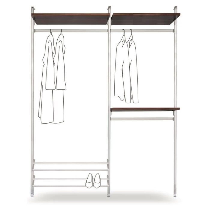 Double clothes rail with walnut shelves and shoe rack