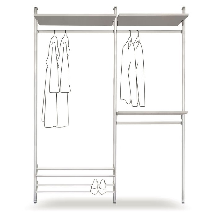 Double clothes rail with linen shelves and shoe rack