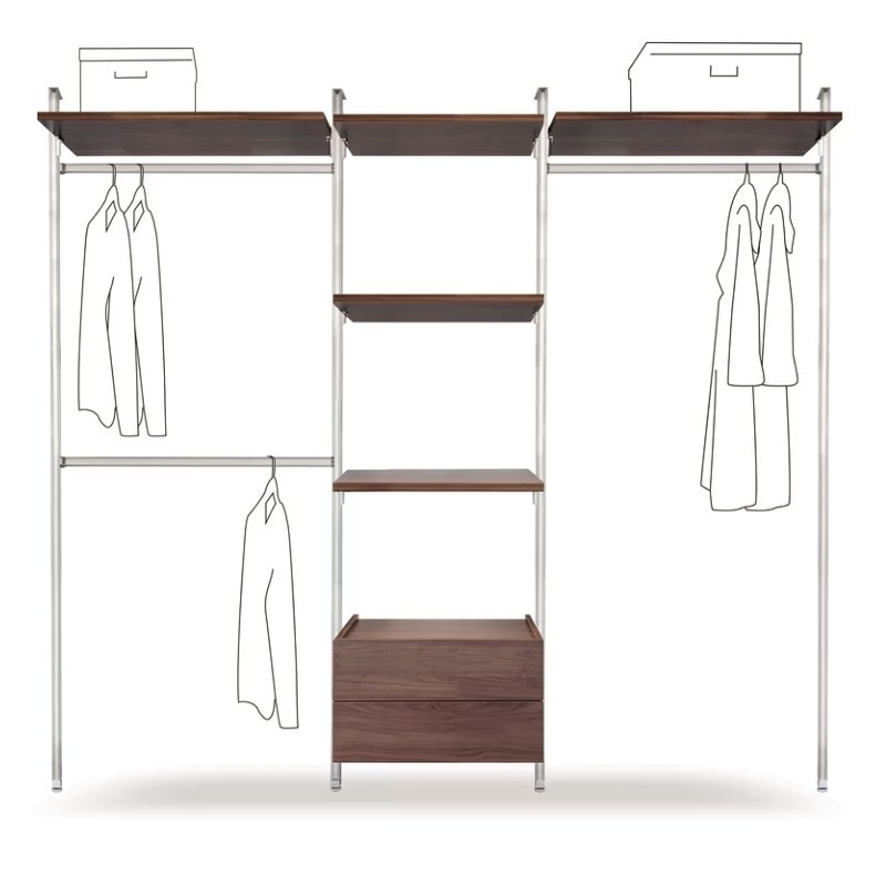 Wall mounted clothes rail with walnut drawers and shelves