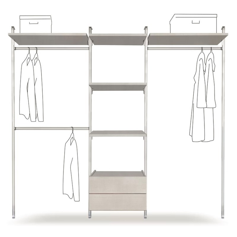 Wall mounted clothes rail with 2 drawers and 5 shelves