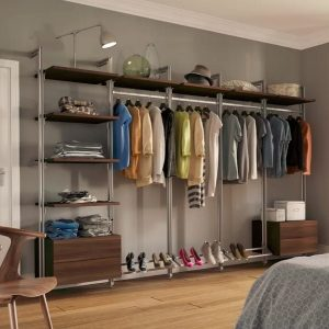 Wall-mounted clothes rail with shelves