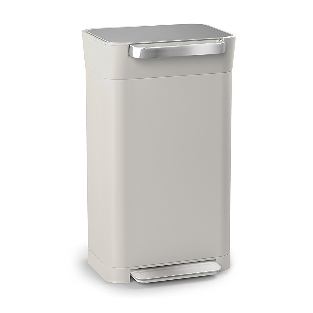 Stone coloured compacting waste bin