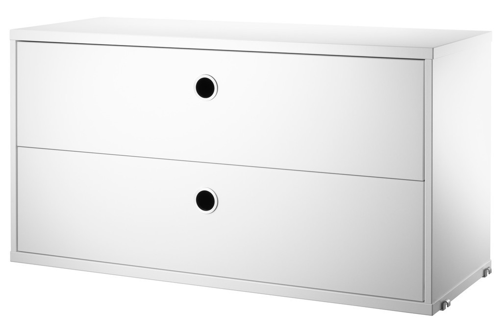 White modular 2 drawer unit