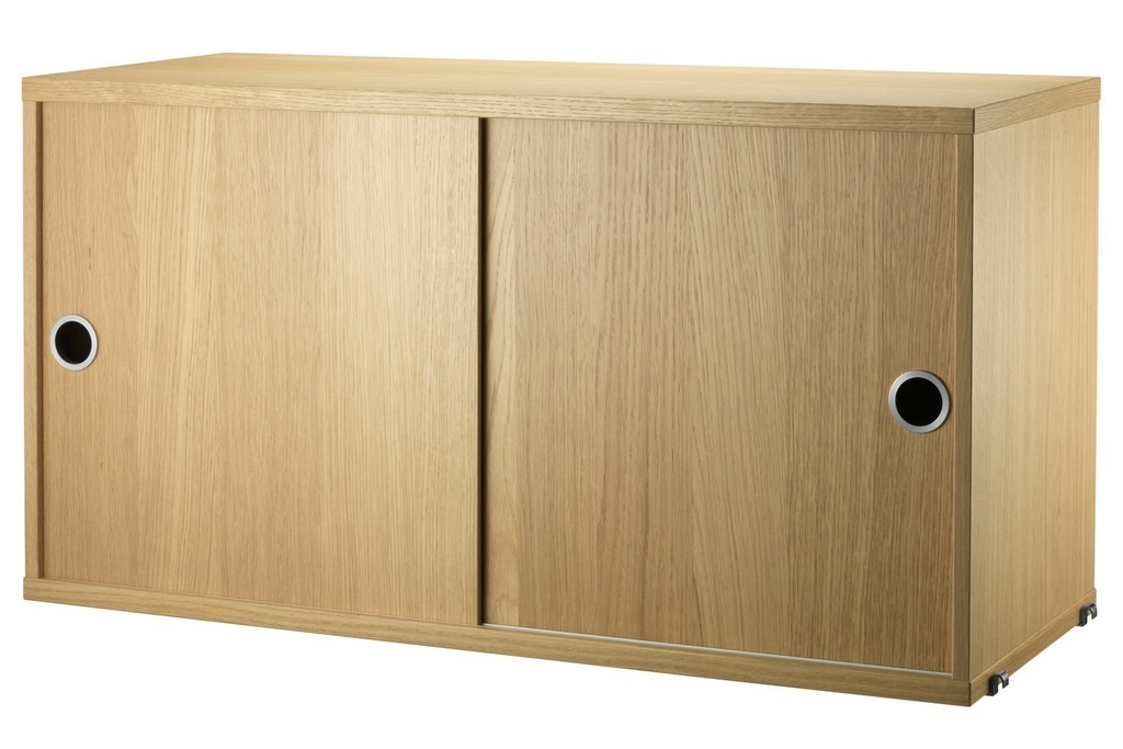 Oak sliding door cupboard unit