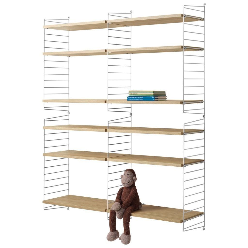 Double 6 tier shelving unit in white and oak