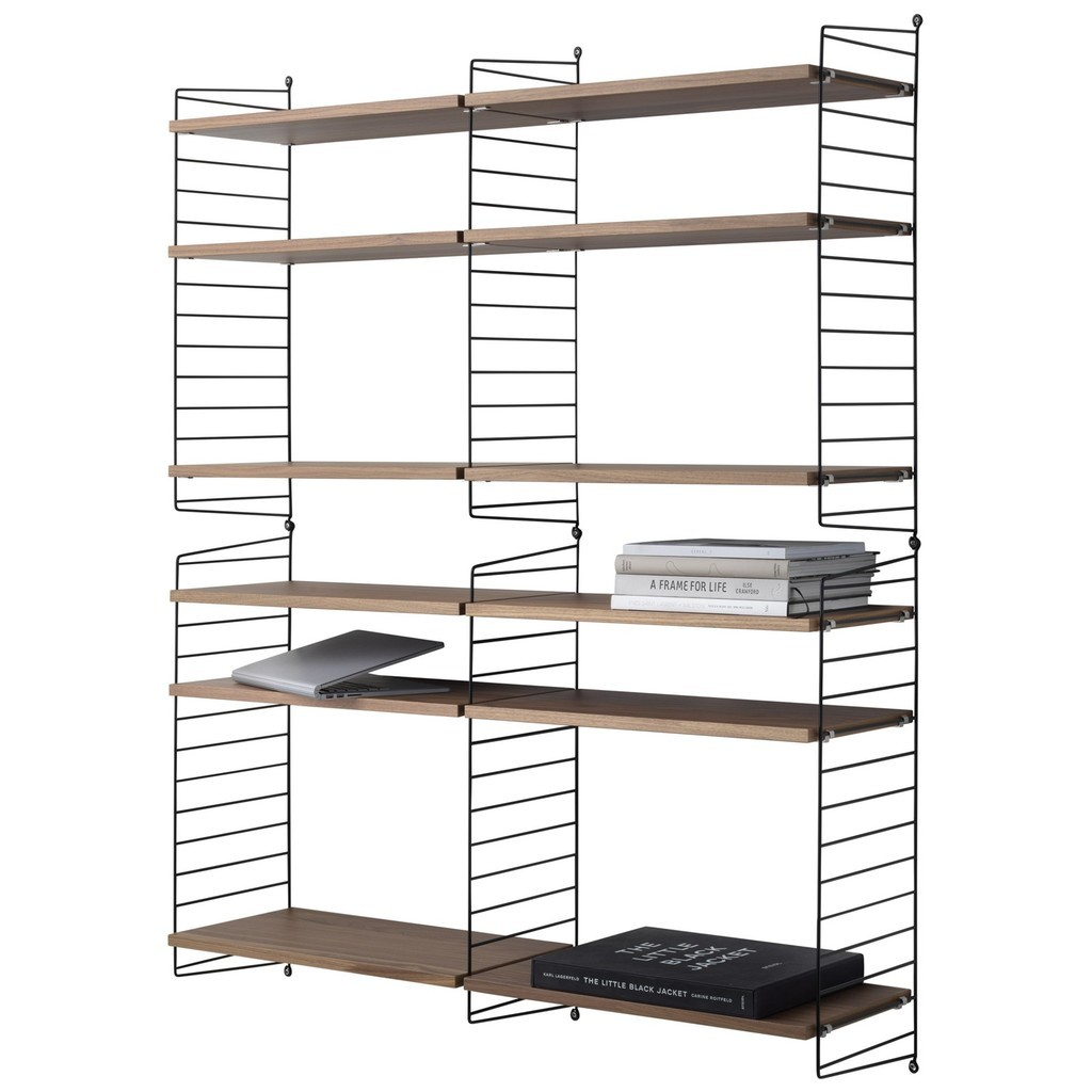 Double 6 tier shelving unit in walnut and black
