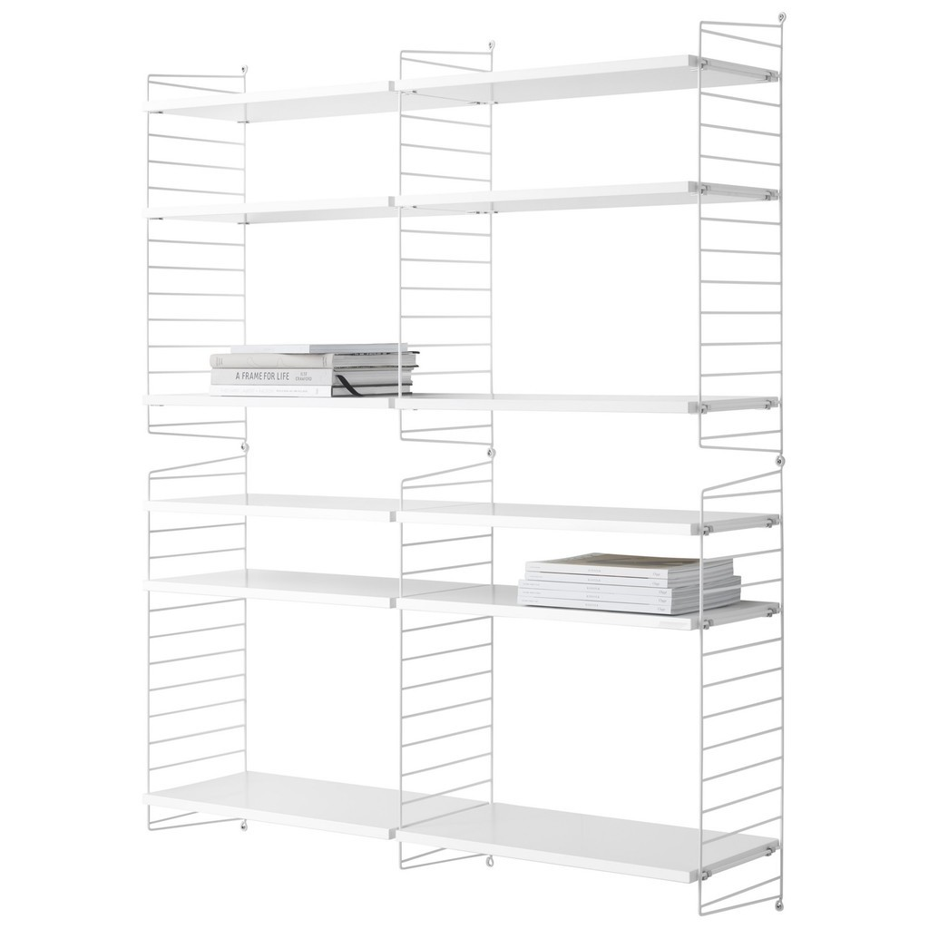 Double 6 tier shelving unit in white