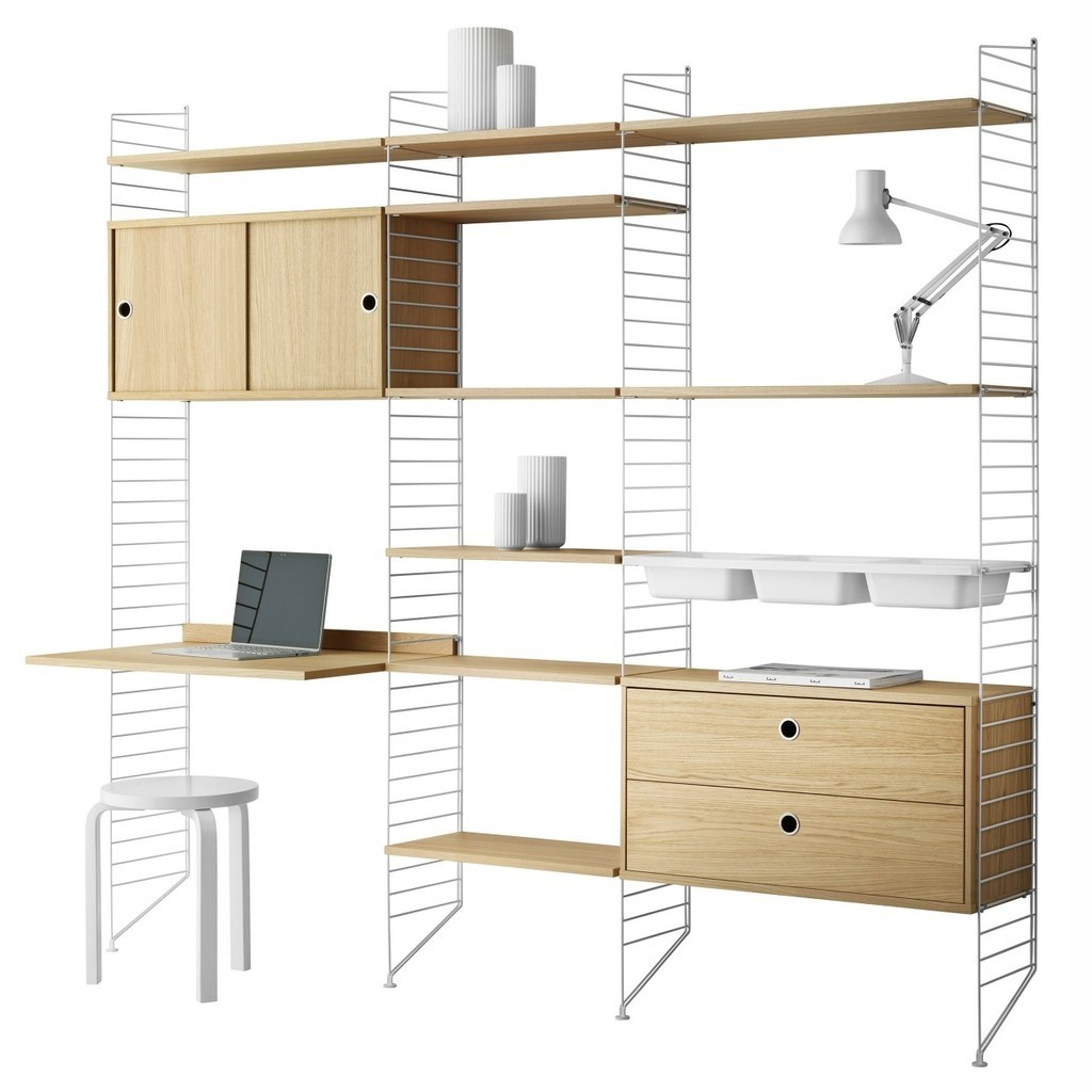 Oak and white modular storage unit