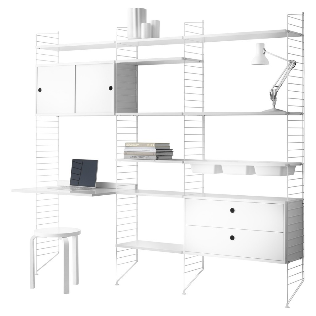 White modular wall storage with shelves, desk, cupboards and drawer