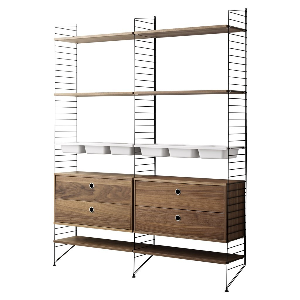 Walnut and black 6 shelf unit with 4 drawers