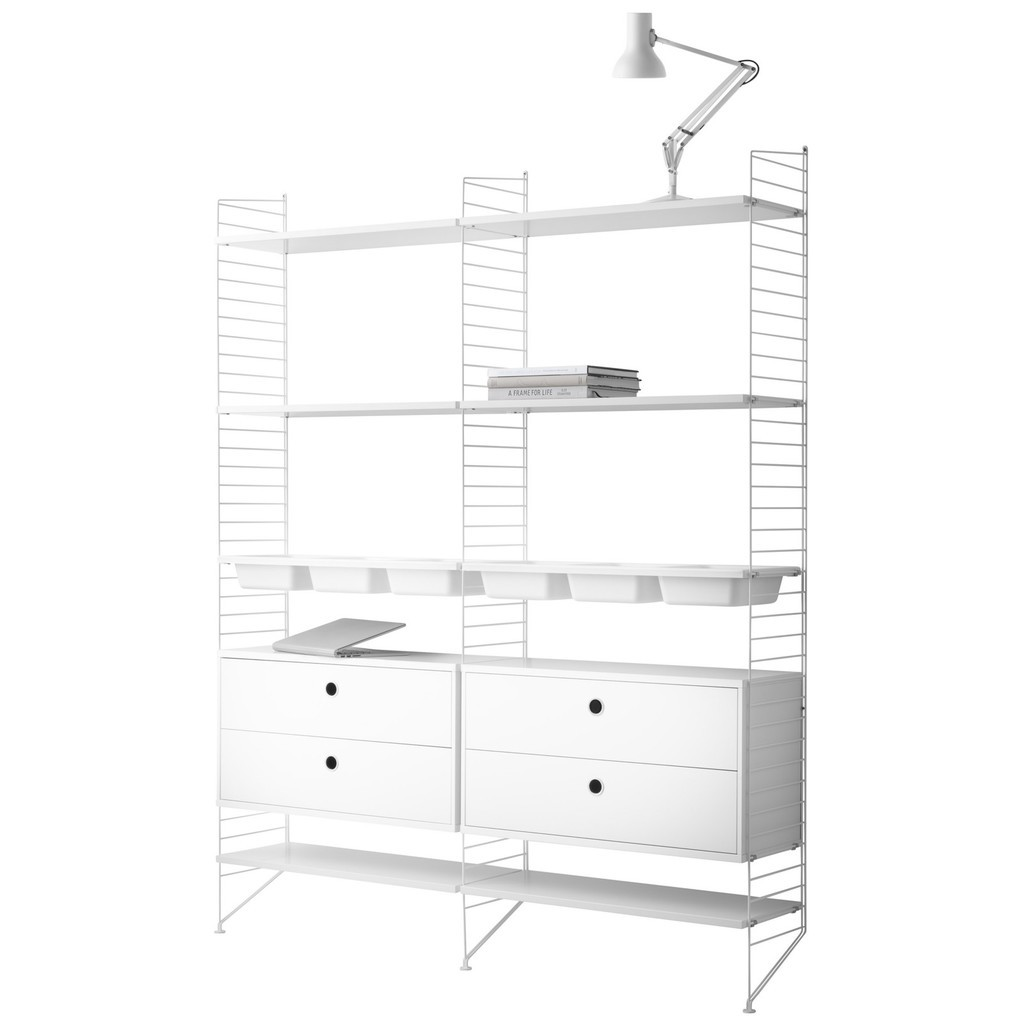 White 6 shelf unit with 4 drawers