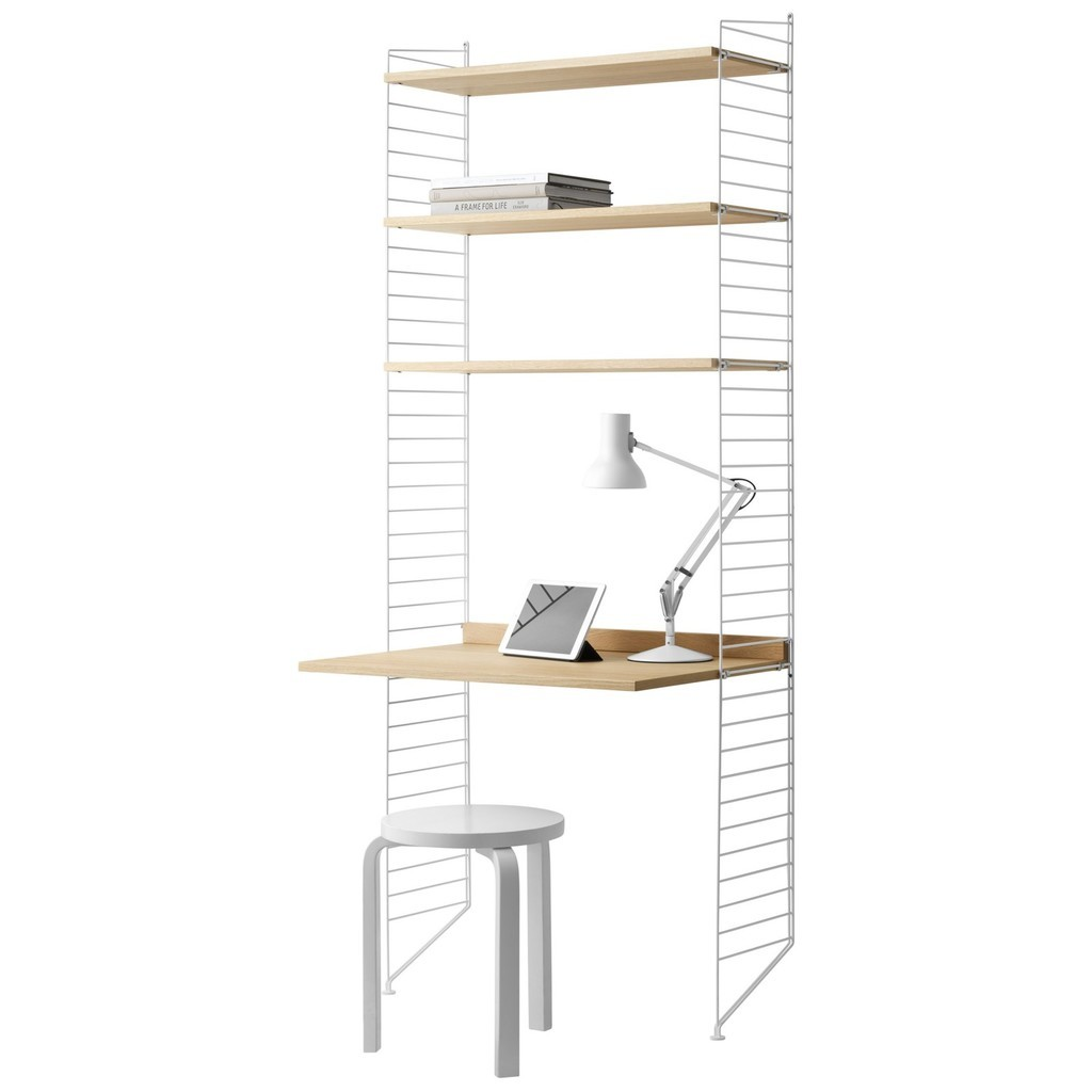 3 shelf unit with desk in white and oak