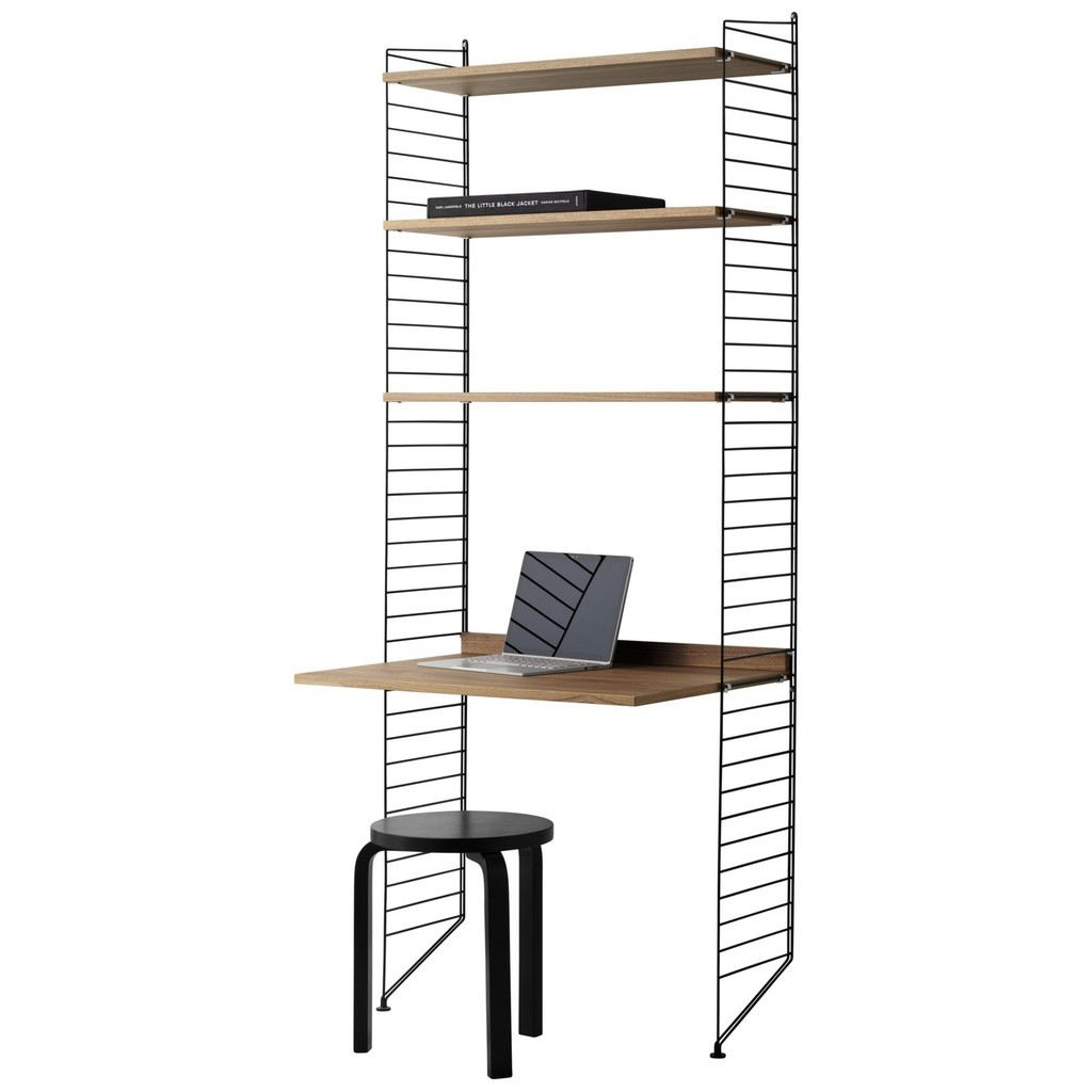3 shelf unit with desk in black and oak