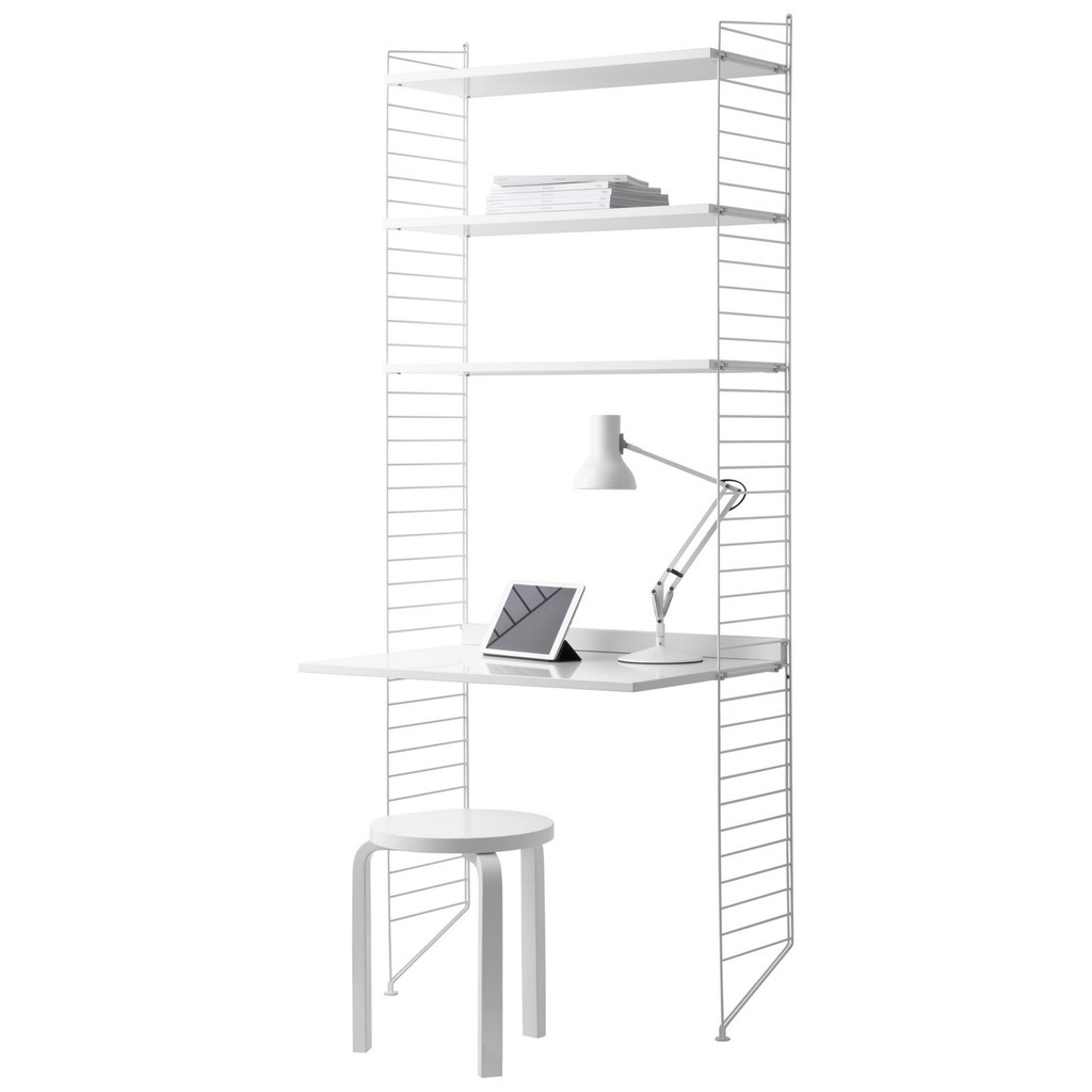 Modular 3 shelf unit with desk - white