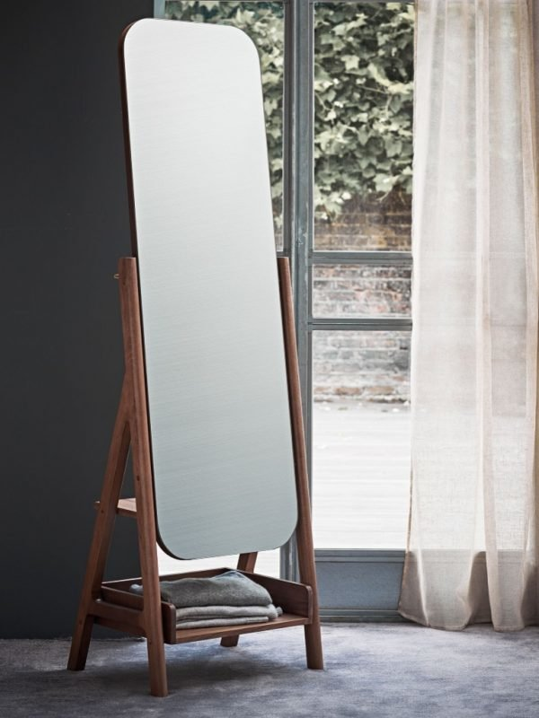 Walnut full-length mirror and clothes stand
