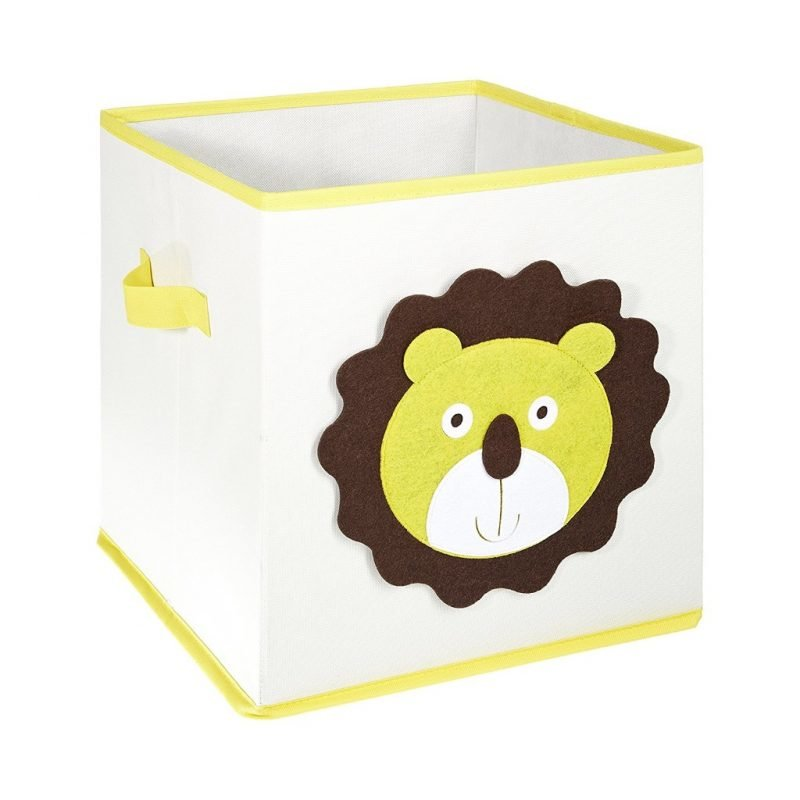 Canvas storage cube with lion's head motif