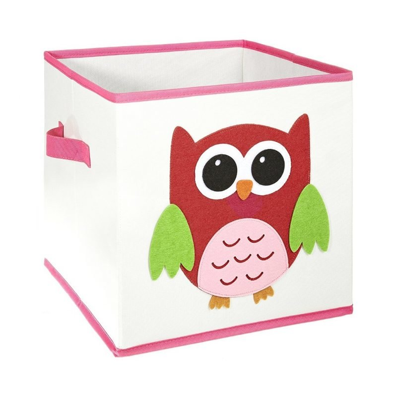 Canvas storage cube with owl motif