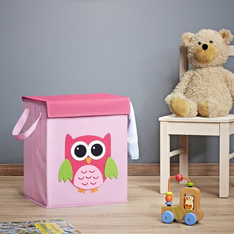 Pink owl theme storage box with lid