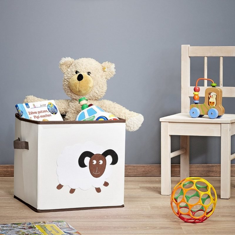 Canvas toy box with sheep motif