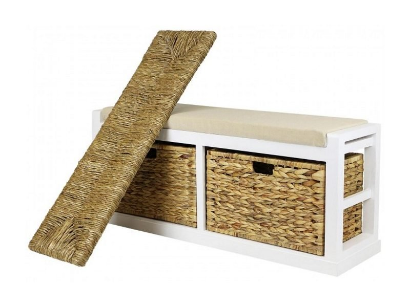 Wide storage bench with a wicker and a foam seat