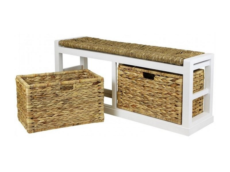 Hartleys Hallway Benches With Wicker Storage Baskets