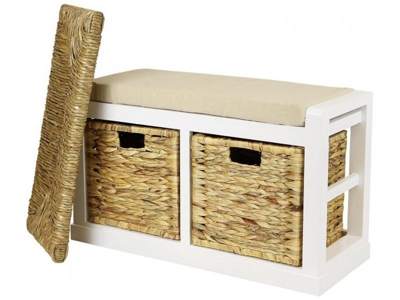 2 drawer bench with a wicker and foam seat