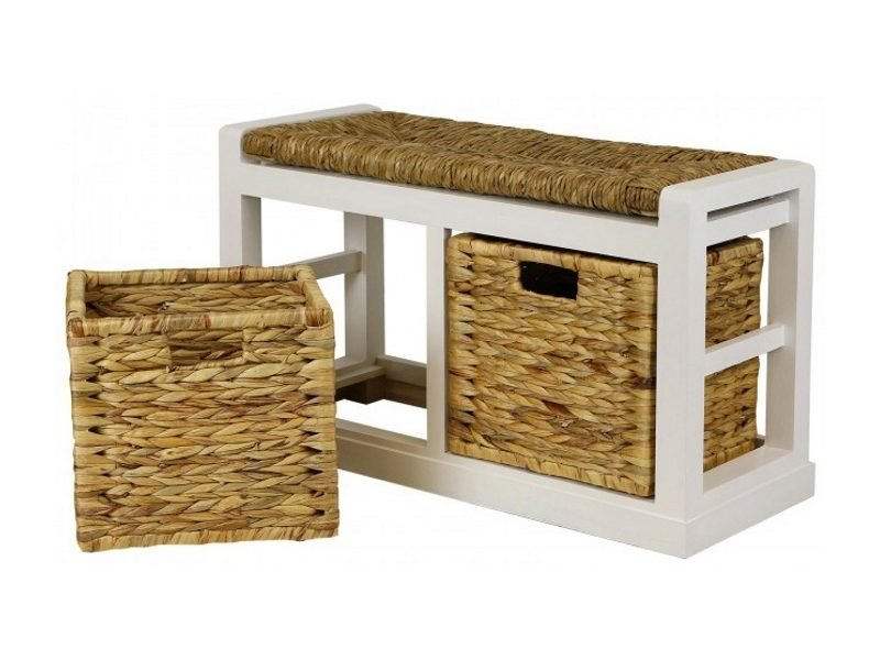 2 drawer storage bench with a wicker seat