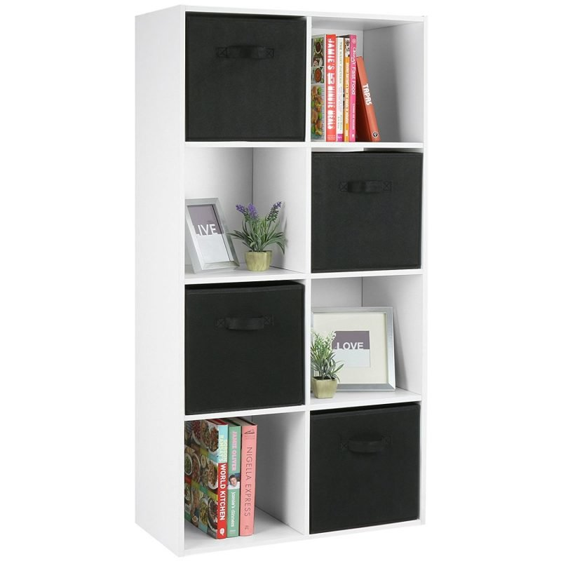 Vetical 8 cube unit with 4 black storage boxes