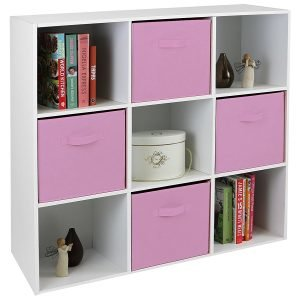 9 Cube Storage Unit with 4 Pink Boxes