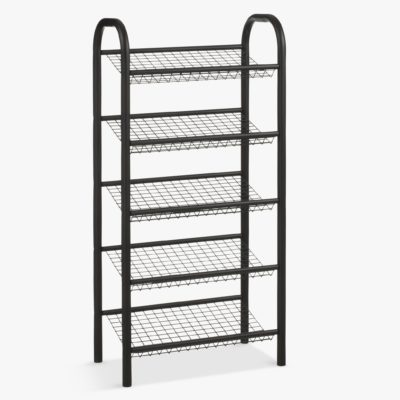 5-tier black metal shoe rack