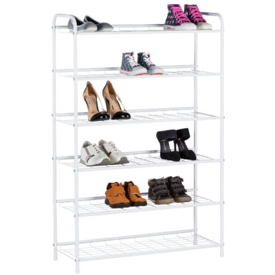 White 6-tier metal shoe rack