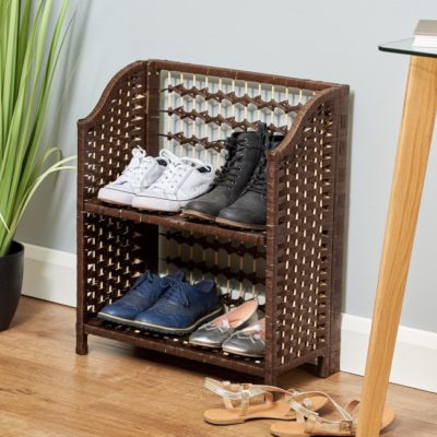Folding woven raffia shoe rack