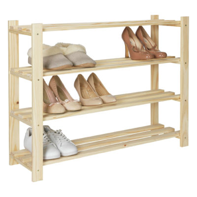 Raw pine shoe rack