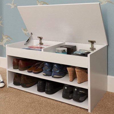 Shoe storage bench with lift-up lid